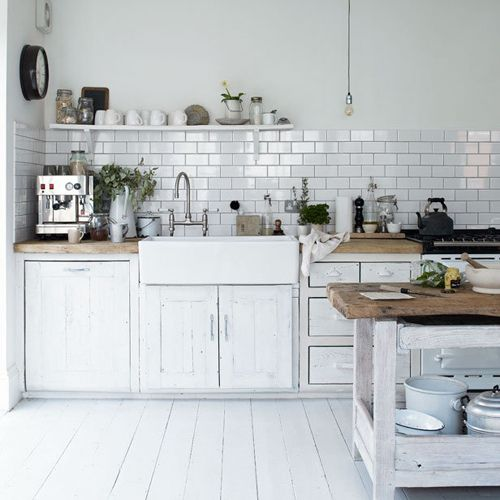 white kitchen, light grey and subway tiles